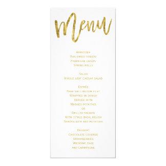Personlig för vit- och guldbröllopmeny 10,2 x 23,5 cm inbjudningskort