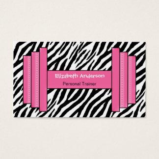 Personlig instruktör för moderiktig rosa och svart visitkort