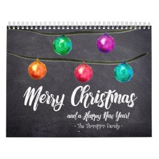 Personlig jul, vattenfärg, beställnings- foto kalender