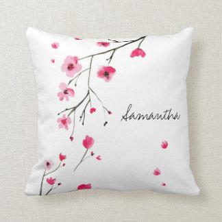 Personlig körsbärsröd blommar, namn kudde