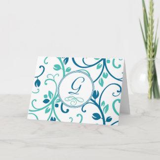 Personlig Notecard för blått för blommaVinekricka Anteckningskort