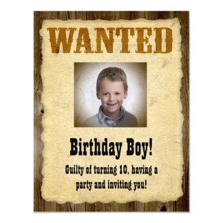 Personlig önskad affisch, födelsedagbandit 10,8 x 14 cm inbjudningskort