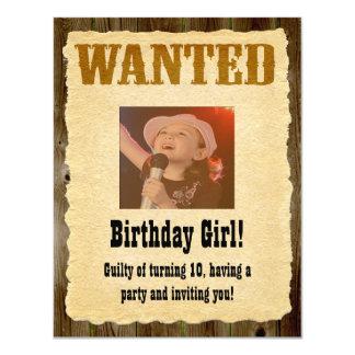 Personlig önskad affisch, western stilfödelsedag 10,8 x 14 cm inbjudningskort