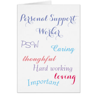 Personlig servicearbetare PSW Hälsningskort