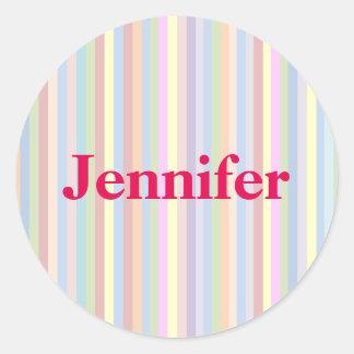 Personliga pastellfärgade randklistermärkear runt klistermärke