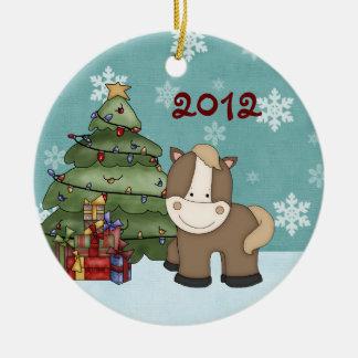 Personligbaby 1st prydnad för häst för jul julgransprydnad keramik
