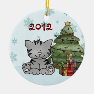 Personligbaby 1st prydnad för katt för jul julgransprydnad keramik