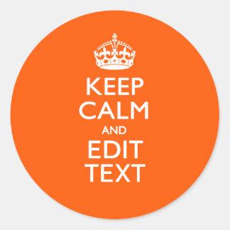 PersonligBEHÅLLALUGN din orange brytning för text Runt Klistermärke