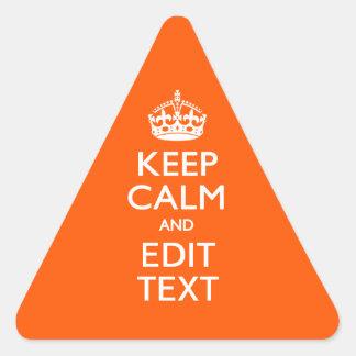 PersonligBEHÅLLALUGN din orange brytning för text Triangelformat Klistermärke