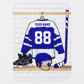 Personligblått- och vitishockey Jersey