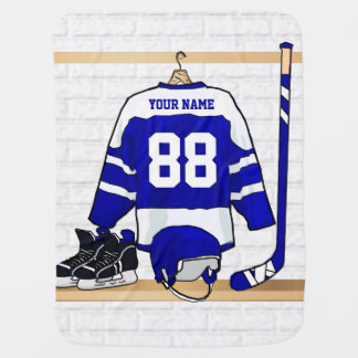 Personligblått- och vitishockey Jersey Bebisfilt