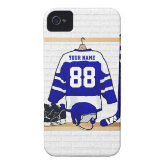 Personligblått- och vitishockey Jersey iPhone 4 Fodraler