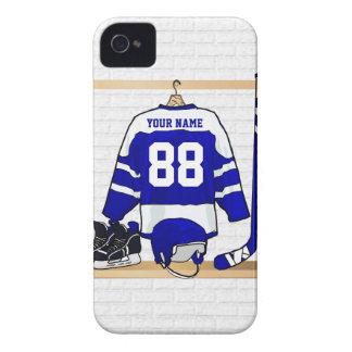 Personligblått- och vitishockey Jersey iPhone 4 Skydd