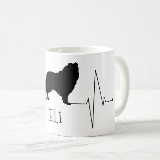 PersonligColliekärlek min hundhjärtatakt Kaffemugg