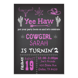 PersonligCowgirlfödelsedagsfest inbjudan