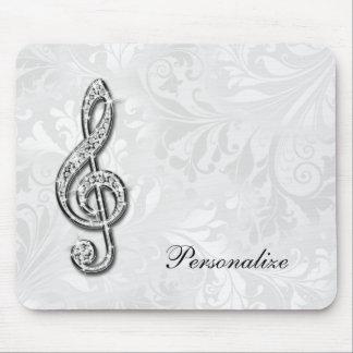Personligdiamantmusik noterar blom- damast mus mattor