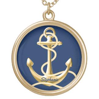 Personligen ankrar marinblått guld för halsbandet halsband med rund hängsmycke