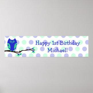 Personligen för födelsedagen för blåttugglan under poster