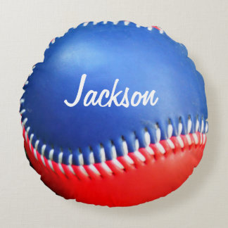 Personligen kudder rött vitt blått baseball rund kudde