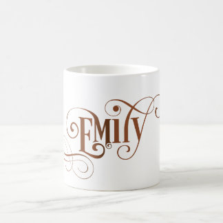 Personligen Swirly skrivar Emily på naturliga Kaffemugg