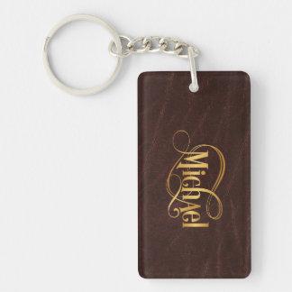 Personligen Swirly skrivar Michael guld på läder Nyckelringar