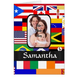 Personligflaggor av världen hälsningskort
