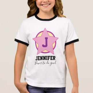 PersonligflickaSuperhero med initialt och känt Tee Shirt