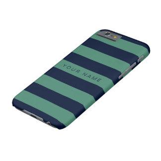 Personliggrönt & marinblått randigt barely there iPhone 6 skal