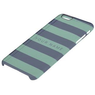 Personliggrönt & marinblått randigt clear iPhone 6 plus skal