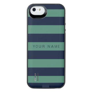 Personliggrönt & marinblått randigt iPhone SE/5/5s batteri skal