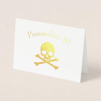 Personligguld omkullkastar skallen och Crossbones Folierat Kort
