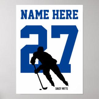 Personlighockeyspelaren numrerar blått poster
