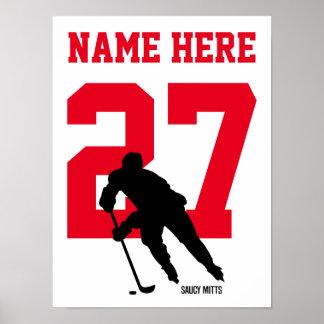 Personlighockeyspelaren numrerar rött poster