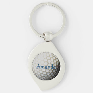 personligkeychain för golfare swirl silverfärgad nyckelring