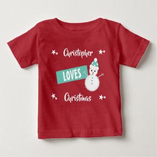 Personlignamn älskar julsnögubben t-shirts