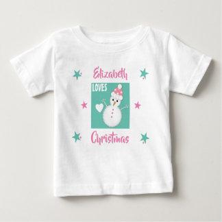 Personlignamn älskar julsnögubberosor t shirt