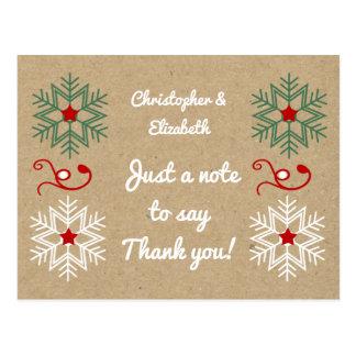 Personlignamnjulen tackar dig snöflingor vykort
