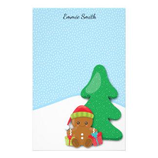 Personligpepparkakababy och snö brevpapper