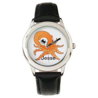 Personligpojke svart klocka för namn för bläckfisk