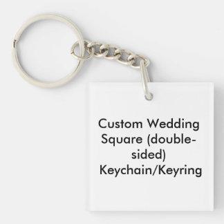 Personligt bröllp kvadrerar tvåsidiga nyckelkedjor