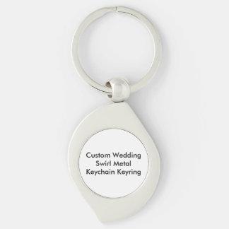 Personligt bröllp virvlar runt den metallKeychain Swirl Silverfärgad Nyckelring