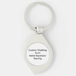Personligt bröllp virvlar runt metall swirl silverfärgad nyckelring