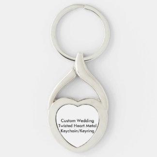 Personligt bröllp vred hjärtametall twisted heart silverfärgad nyckelring