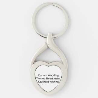 Personligt bröllp vriden hjärtnyckelringnyckelring twisted heart silverfärgad nyckelring