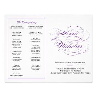 Personligt bröllpprogram - lila reklamblad 21,5 x 30 cm