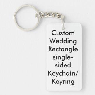 Personligt bröllprektangel enkelsidiga nyckelring