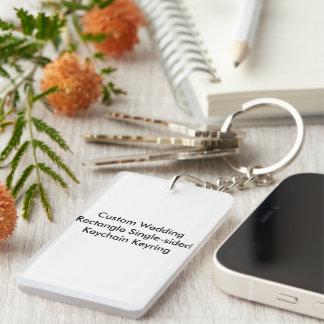 Personligt bröllprektangel enkelsidiga  rektangulärt enkelsidig nyckelring i akryl