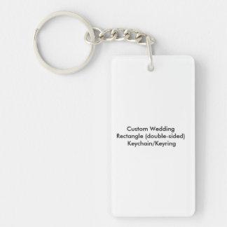 Personligt bröllprektangel tvåsidiga Keychain/ring