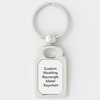 Personligt bröllprektangelmetall Keychain Rektangulärt Silverfärgad Nyckelring