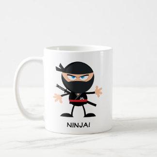 Personligtecknad Ninja Vit Mugg